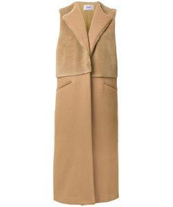 PONTI   Faux Fur Panel Sleeveless Coat Wool