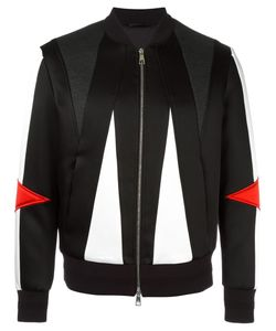 Neil Barrett | Geometric Panelled Bomber Jacket Large Viscose/Polyester/Cotton/Polyurethane