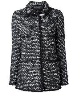 Giambattista Valli | Long Tweed Jacket 42 Viscose/Polyester/Polyamide/Leather