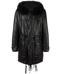 Ahirain | Padded Hooded Mid Coat Medium Calf Leather
