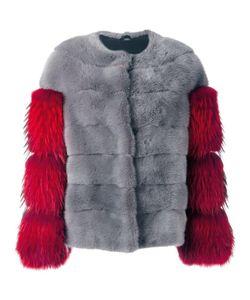 NUMEROOTTO   Collarless Zipped Jacket 40 Mink Fur/Silk