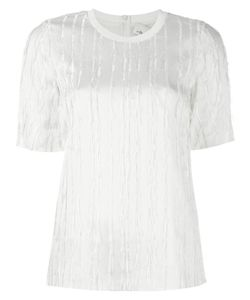 3.1 Phillip Lim | Fringed Satin T-Shirt 6 Silk/Acetate/Viscose