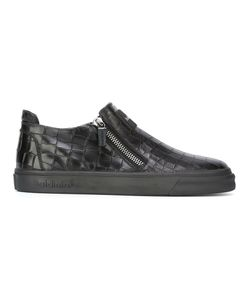 Baldinini | Crocodile Effect Zipped Sneakers 45 Rubber/Leather