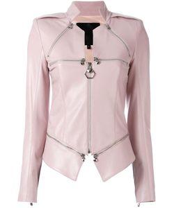 Philipp Plein | Zip Detailed Jacket Large Lamb Skin/Acetate/Polyester