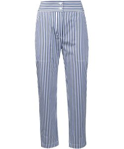 Adam Lippes | Striped Cropped Trousers 0 Cotton/Silk