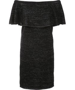 Trina Turk | Off-Shoulder Dress Small Polyester/Wool/Acrylic/Metallized Polyester