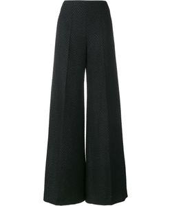Emilia Wickstead | Herringbone Flared Trousers 16 Polyester/Silk
