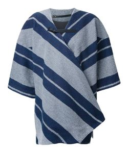 Muller Of Yoshiokubo | Contrast Striped Print Poncho Cotton/Acrylic/Nylon/Wool
