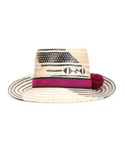YOSUZI   Pompom Detail Hat Straw