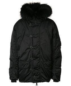 KRU | Padded Hooded Coat Large Polyester/Racoon Fur