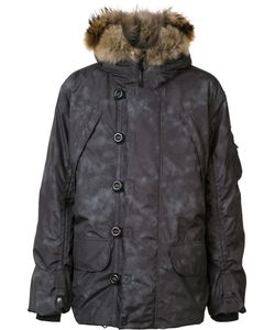 KRU | Padded Hooded Coat Large Polyester/Racoon Fur/Feather Down