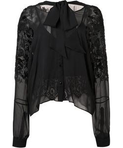 LOYD/FORD | Embellished Sleeves Sheer Blouse 2 Silk