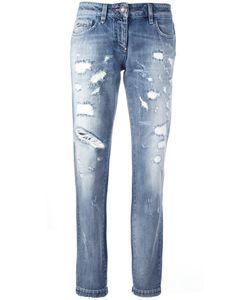 Philipp Plein | Distressed Straight Leg Jeans 25 Cotton/Spandex/Elastane/Polyester