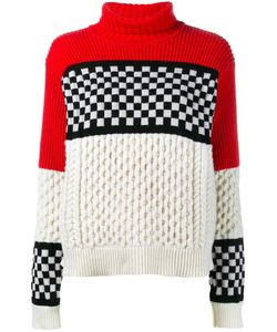 ASHLEY WILLIAMS | Checked Cable Knit Jumper Large Merino/Cashmere
