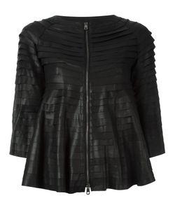 Emporio Armani   Cropped Sleeves Leather Jacket 40 Polyamide/Spandex/Elastane/Goat
