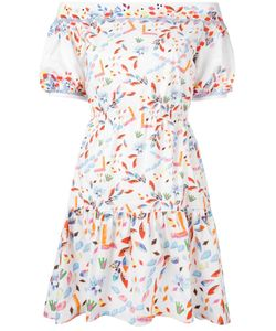 Peter Pilotto | Off-The-Shoulder Tiered Dress 10 Cotton/Spandex/Elastane/Polyester