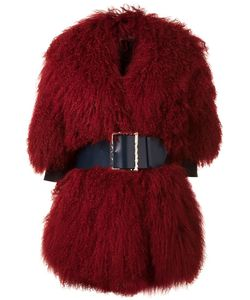 CHRISTIAN DADA | Big Belt Buckled Coat 36 Wool/Tibetan