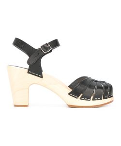 Swedish Hasbeens | Fredrica Sandals 38 Rubber/Leather/Wood