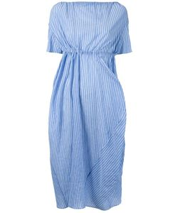 ASSIN | Striped Draped Mid Dress Large Cotton