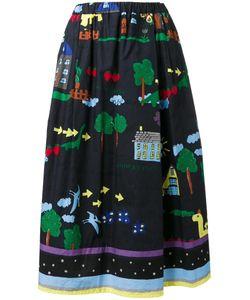 Muveil | Illustration Print A-Line Skirt 40 Cotton