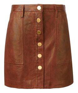 Michael Michael Kors | Buttoned Leather Skirt 8 Lamb
