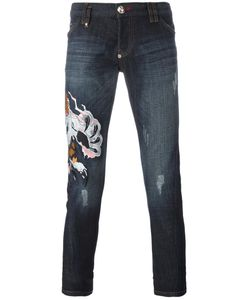 Philipp Plein | Embroidered Lion Jeans 33 Cotton/Spandex/Elastane