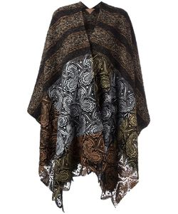 ERMANNO GALLAMINI   Lace Detail Striped Cape Virgin Wool/Wool/Cotton/Polyester