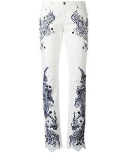 Roberto Cavalli | Embroidered Trousers 42 Cotton/Spandex/Elastane