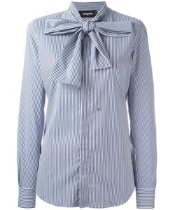 Dsquared2 | Pinstripe Pussy Bow Shirt 42 Cotton/Polyamide/Spandex/Elastane