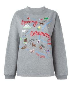 Opening Ceremony | Map Embroidery Sweatshirt Small Cotton