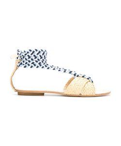 Manolita | Straw Flat Sandals 36 Aligator Leather