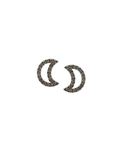 ROSA DE LA CRUZ | Diamond Encrusted Moon Earrings