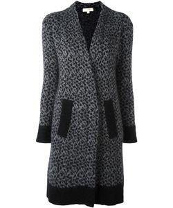 Michael Michael Kors | Leopard Intarsia Cardi-Coat Xs Merino/Mohair/Nylon