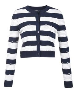 Carolina Herrera   Striped Cropped Cardigan Xs Viscose/Polyester