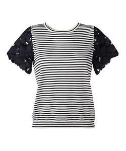 Dorothee Schumacher   Lace Sleeve Striped T-Shirt 3 Silk/Spandex/Elastane/Cashmere/Polyamide