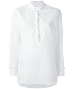 Chinti And Parker | Frilled Placket Shirt Small Cotton