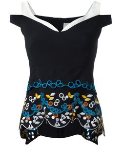 Peter Pilotto | Cady Embroidered Tier Top 12 Polyester/Spandex/Elastane/Acetate/Viscose