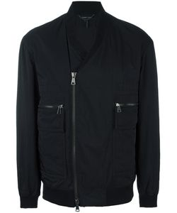 Helmut Lang | V-Neck Bomber Jacket Small Nylon/Viscose/Cotton/Cotton