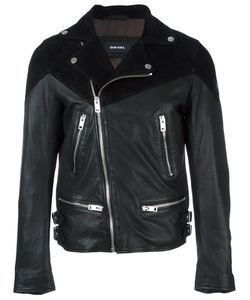 Diesel | Zipped Leather Jacket Small Polyester/Sheep Skin/Shearling/Goat Skin