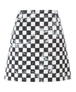 Marc Jacobs | Checkerboard Print A-Line Skirt 6 Silk/Cotton/Wool