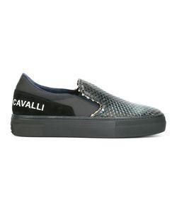 Roberto Cavalli | Snakeskin Effect Slip-On Sneakers 45 Leather/Rubber