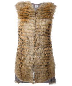 Eleventy   Layered Sleeveless Coat Medium Cashmere/Racoon Fur