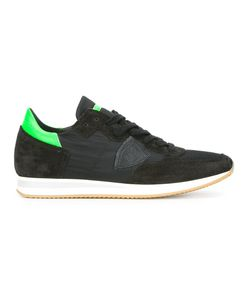 Philippe Model | Neon Detailing Lace-Up Sneakers 40 Suede/Leather/Cotton/Rubber