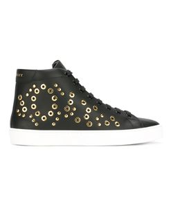 Burberry | Eyelet Detail Hi-Top Sneakers 38 Calf Leather/Leather/Rubber