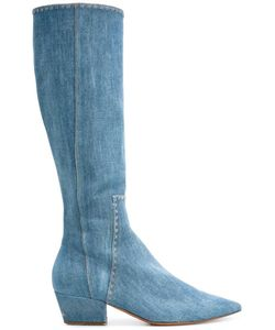 Ermanno Scervino | Knee-Length Denim Boots 36 Cotton/Leather