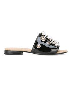 Toga | Embellished Flat Sandals 39 Patent Leather/Leather/Raffia