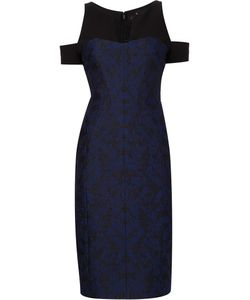 J. Mendel | Jacquard Cut-Off Shoulders Dress 10 Silk