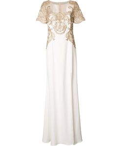 Marchesa Notte | -Tone Embroidery Long Dress 16 Polyester