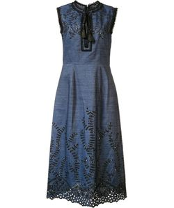 Yigal Azrouel | Embroidered Denim Dress 6 Cotton/Linen/Flax