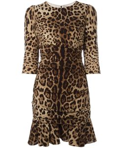 Dolce & Gabbana | Leopard Print Peplum Dress 44 Silk/Spandex/Elastane